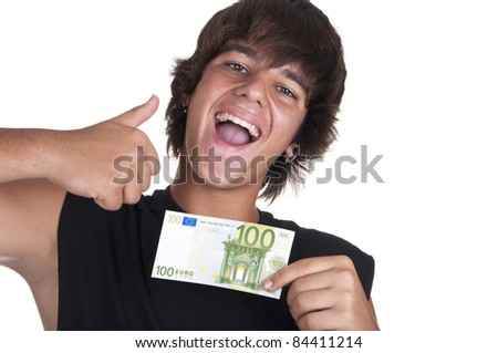 teenage boy with a ticket of 100 euros on white background - stock photo