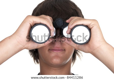teenage boy with binoculars om white backgraund - stock photo