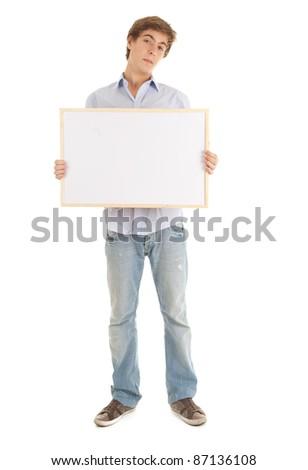teenage boy with blank sign, white background - stock photo