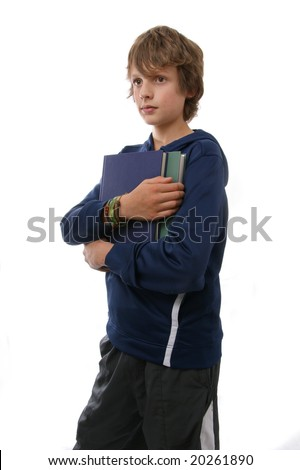 Teenage boy with books - stock photo