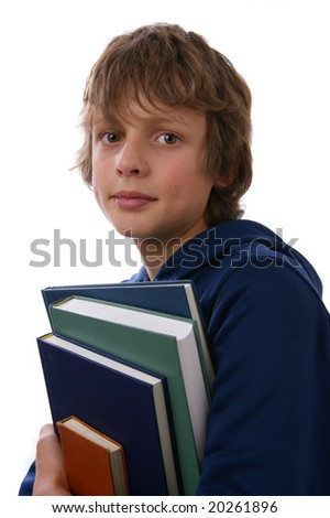 Teenage boy with books