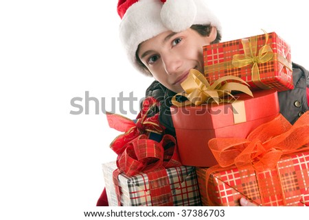 Teenage boy with gifts isolated on white background