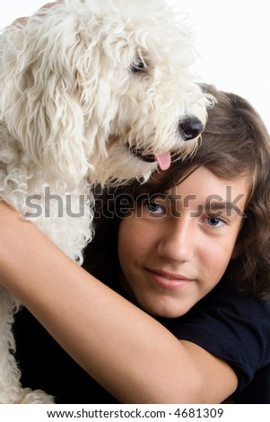 teenage boy with his dog, studio white