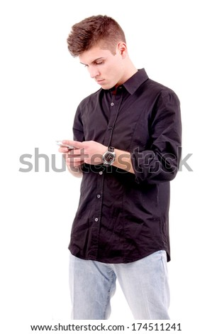 teenage boy with mobile phone isolated in white - stock photo