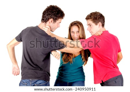 teenage boys and girl isolated in white - stock photo