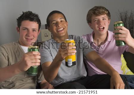 Teenage Boys Drinking Beer - stock photo