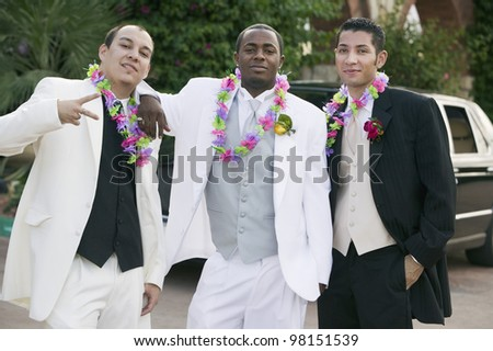 Teenage Boys posing for Grad photo - stock photo