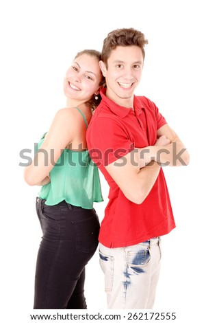 teenage couple isolated in white background