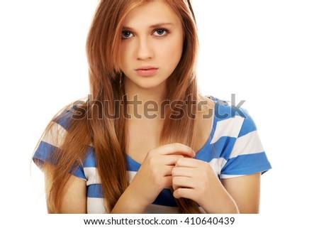 Teenage depression woman sitting on the floor - stock photo