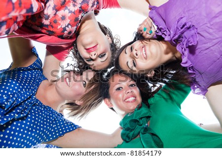 Teenage Female Friends in Circle, Bottom View - stock photo