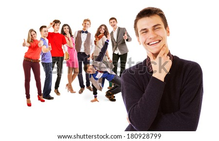 Teenage friends big group - stock photo