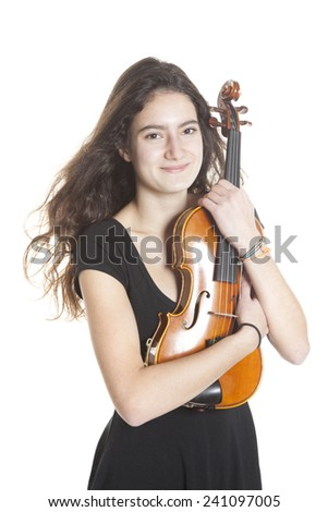 teenage girl and violin in studio with white background - stock photo