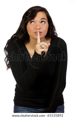 Teenage Girl Asking For Quiet While Looking Away