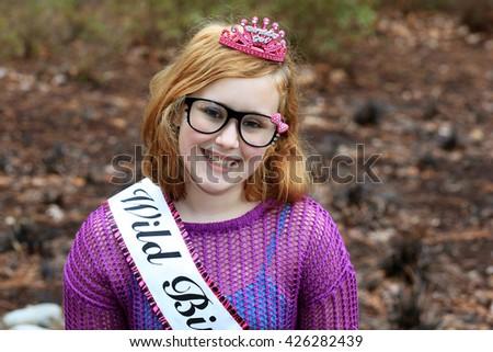 Teenage girl celebrating her birthday - stock photo