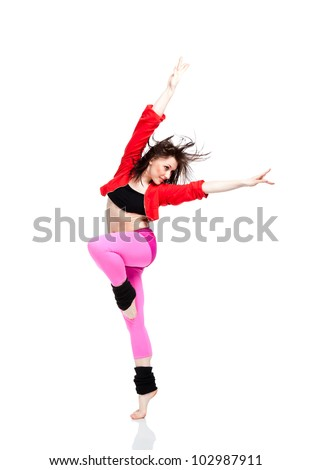 Teenage girl dancing hip-hop, modern dance, break dancing, wearing red and black sportswear clothing, studio series, isolated over white background. - stock photo