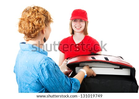 Teenage girl delivering pizza to a hungry customer.  Isolated on white. - stock photo