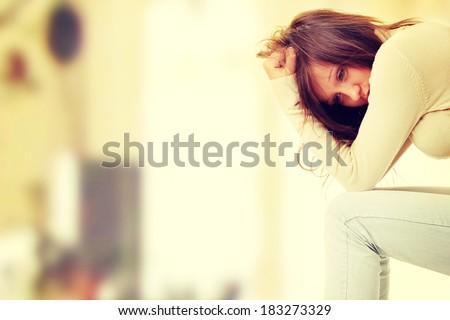 Teenage girl depression - lost love - stock photo