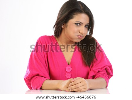 Teenage girl doing oil pulling - stock photo