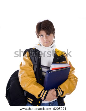 Teenage girl high school student with short brunette hair in lettermans jacket holding books, isolated on white background