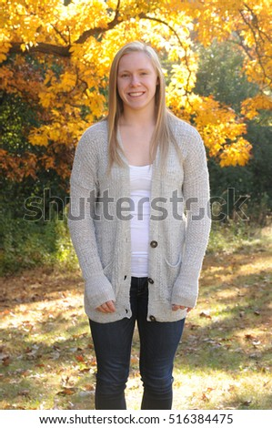 teenage girl in autumn