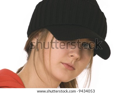 teenage girl in the black knitted cap, large-person portrait