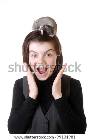 teenage girl is shocked by the rats on her head