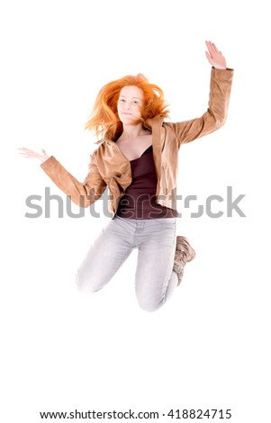 teenage girl isolated in white background