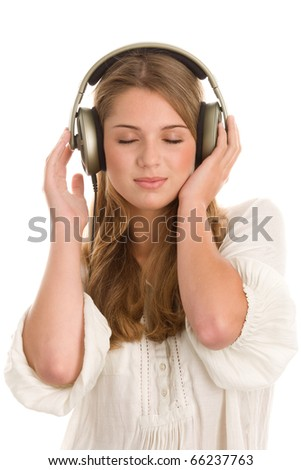 Teenage girl listening to music with closed eyes