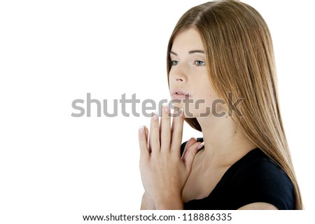 Teenage girl looking away with a dreamy glance. - stock photo