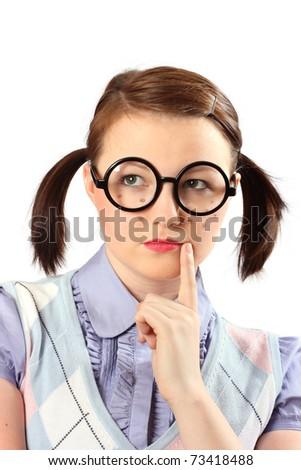 Teenage girl made-up like a geek - stock photo