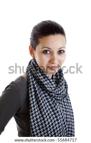 Teenage girl on isolated white background - stock photo
