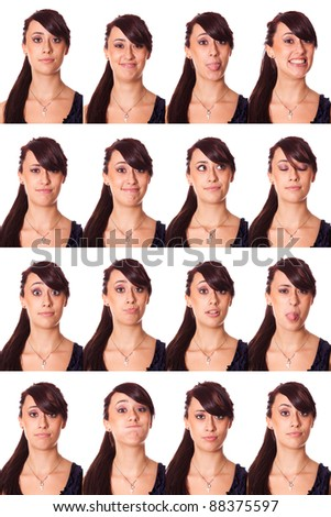 Teenage Girl Portrait, Collection of Expressions - stock photo