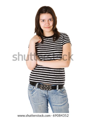 Teenage girl portrait looking straight isolated on white - stock photo