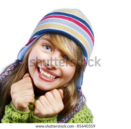 Teenage Girl Portrait..Warm Clothes - stock photo
