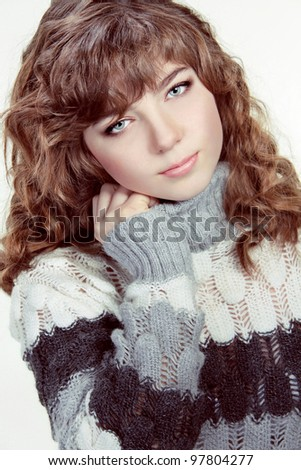 Teenage Girl Portrait wearing winter clothes - stock photo