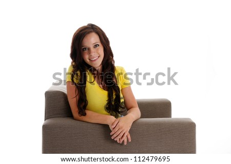 Teenage girl portrait while in her home - stock photo