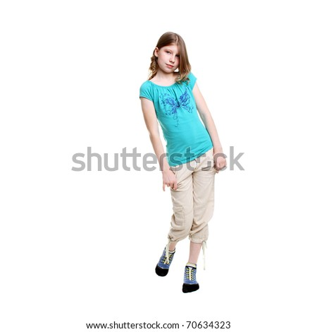 teenage girl posing in studio isolated on white