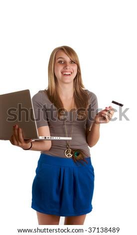 teenage girl shops online - stock photo