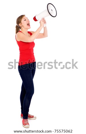 Teenage girl shouting through megaphone
