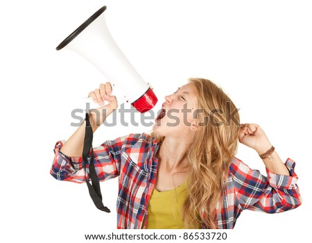 teenage girl shouting through megaphone white background - stock photo
