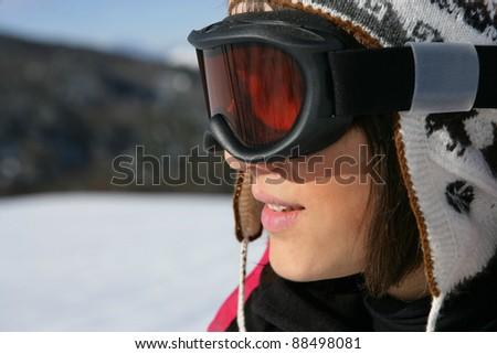 teenage girl skiing - stock photo