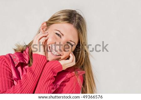 Teenage Girl Smiling - stock photo