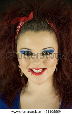 teenage girl smiling dressed like a fortune teller - stock photo