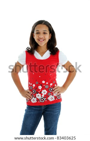 Teenage Girl Standing Alone on White Background