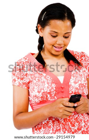 Teenage girl text messaging on a mobile phone isolated over white - stock photo