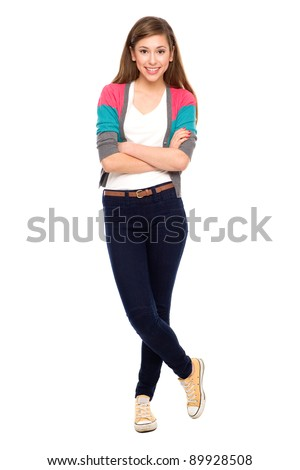 Teenage girl with arms crossed - stock photo