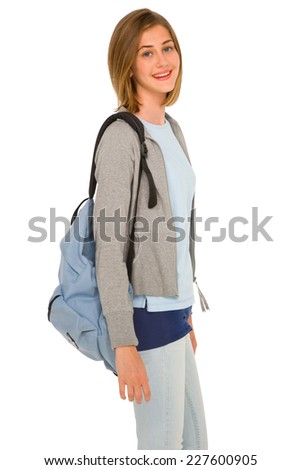 teenage girl with backpack - stock photo