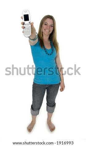 teenage girl with  cell phone - stock photo