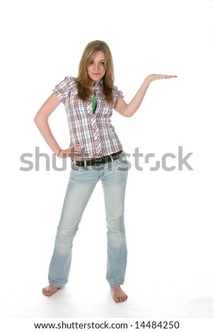 teenage girl with hand out and palm up for product placement, looking at camera - stock photo