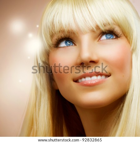 Teenage Girl with Healthy Blond Hair - stock photo